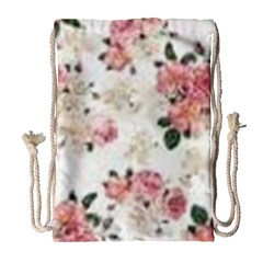 Pink And White Flowers  Drawstring Bag (large) by MaryIllustrations
