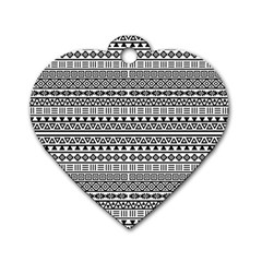 Aztec Influence Pattern Dog Tag Heart (two Sides) by ValentinaDesign