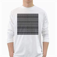 Aztec Influence Pattern White Long Sleeve T Shirts by ValentinaDesign