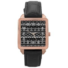 Aztec Influence Pattern Rose Gold Leather Watch  by ValentinaDesign
