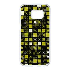 Small Geo Fun F Samsung Galaxy S7 Edge White Seamless Case by MoreColorsinLife
