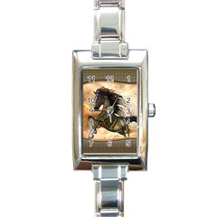 Steampunk, Wonderful Steampunk Horse With Clocks And Gears, Golden Design Rectangle Italian Charm Watch by FantasyWorld7