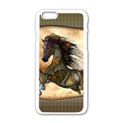 Steampunk, Wonderful Steampunk Horse With Clocks And Gears, Golden Design Apple Iphone 6/6s White Enamel Case by FantasyWorld7