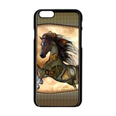 Steampunk, Wonderful Steampunk Horse With Clocks And Gears, Golden Design Apple Iphone 6/6s Black Enamel Case by FantasyWorld7