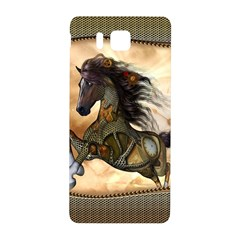 Steampunk, Wonderful Steampunk Horse With Clocks And Gears, Golden Design Samsung Galaxy Alpha Hardshell Back Case by FantasyWorld7