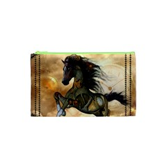 Steampunk, Wonderful Steampunk Horse With Clocks And Gears, Golden Design Cosmetic Bag (xs) by FantasyWorld7