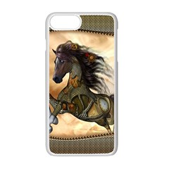 Steampunk, Wonderful Steampunk Horse With Clocks And Gears, Golden Design Apple Iphone 7 Plus White Seamless Case by FantasyWorld7