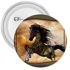 Steampunk, Wonderful Steampunk Horse With Clocks And Gears, Golden Design 3  Buttons by FantasyWorld7