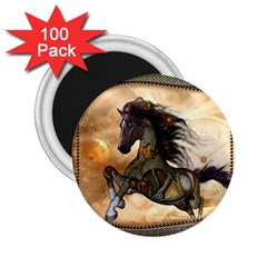 Steampunk, Wonderful Steampunk Horse With Clocks And Gears, Golden Design 2 25  Magnets (100 Pack)  by FantasyWorld7