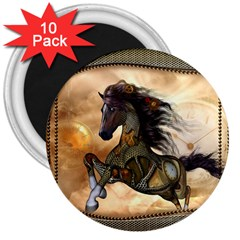 Steampunk, Wonderful Steampunk Horse With Clocks And Gears, Golden Design 3  Magnets (10 Pack)  by FantasyWorld7