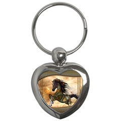 Steampunk, Wonderful Steampunk Horse With Clocks And Gears, Golden Design Key Chains (heart)  by FantasyWorld7