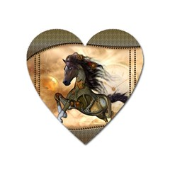 Steampunk, Wonderful Steampunk Horse With Clocks And Gears, Golden Design Heart Magnet by FantasyWorld7