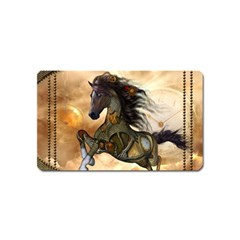 Steampunk, Wonderful Steampunk Horse With Clocks And Gears, Golden Design Magnet (name Card) by FantasyWorld7