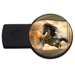 Steampunk, Wonderful Steampunk Horse With Clocks And Gears, Golden Design Usb Flash Drive Round (2 Gb) by FantasyWorld7