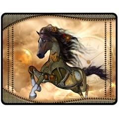 Steampunk, Wonderful Steampunk Horse With Clocks And Gears, Golden Design Fleece Blanket (medium)  by FantasyWorld7