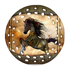 Steampunk, Wonderful Steampunk Horse With Clocks And Gears, Golden Design Round Filigree Ornament (two Sides) by FantasyWorld7