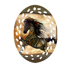 Steampunk, Wonderful Steampunk Horse With Clocks And Gears, Golden Design Oval Filigree Ornament (two Sides) by FantasyWorld7