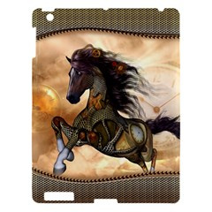 Steampunk, Wonderful Steampunk Horse With Clocks And Gears, Golden Design Apple Ipad 3/4 Hardshell Case by FantasyWorld7