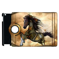 Steampunk, Wonderful Steampunk Horse With Clocks And Gears, Golden Design Apple Ipad 2 Flip 360 Case by FantasyWorld7
