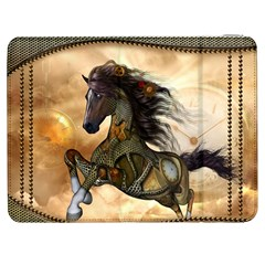 Steampunk, Wonderful Steampunk Horse With Clocks And Gears, Golden Design Samsung Galaxy Tab 7  P1000 Flip Case by FantasyWorld7