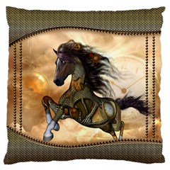 Steampunk, Wonderful Steampunk Horse With Clocks And Gears, Golden Design Large Flano Cushion Case (two Sides) by FantasyWorld7