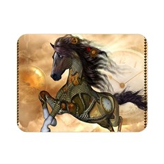 Steampunk, Wonderful Steampunk Horse With Clocks And Gears, Golden Design Double Sided Flano Blanket (mini)  by FantasyWorld7