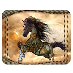 Steampunk, Wonderful Steampunk Horse With Clocks And Gears, Golden Design Double Sided Flano Blanket (medium)  by FantasyWorld7