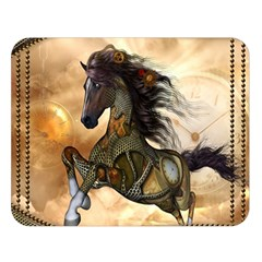 Steampunk, Wonderful Steampunk Horse With Clocks And Gears, Golden Design Double Sided Flano Blanket (large)  by FantasyWorld7