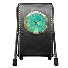Abstract Art Pen Holder Desk Clocks by ValentinaDesign