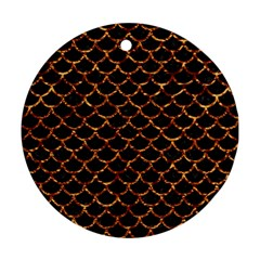 Scales1 Black Marble & Copper Foil Round Ornament (two Sides) by trendistuff