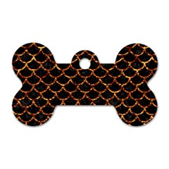 Scales1 Black Marble & Copper Foil Dog Tag Bone (one Side) by trendistuff
