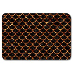 Scales1 Black Marble & Copper Foil Large Doormat  by trendistuff