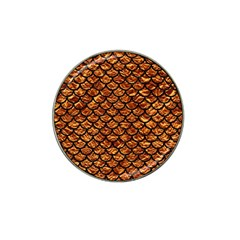 Scales1 Black Marble & Copper Foil (r) Hat Clip Ball Marker by trendistuff