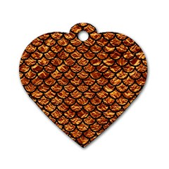Scales1 Black Marble & Copper Foil (r) Dog Tag Heart (two Sides) by trendistuff