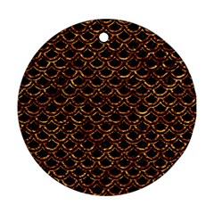 Scales2 Black Marble & Copper Foilscales2 Black Marble & Copper Foil Round Ornament (two Sides) by trendistuff