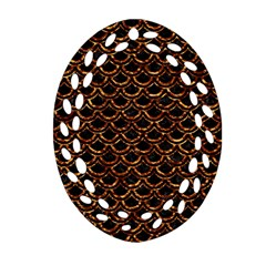 Scales2 Black Marble & Copper Foilscales2 Black Marble & Copper Foil Oval Filigree Ornament (two Sides) by trendistuff