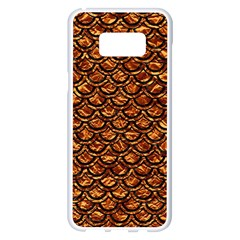 Scales2 Black Marble & Copper Foil (r) Samsung Galaxy S8 Plus White Seamless Case by trendistuff