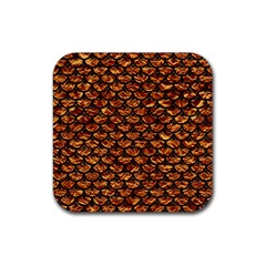 Scales3 Black Marble & Copper Foil (r) Rubber Square Coaster (4 Pack)  by trendistuff