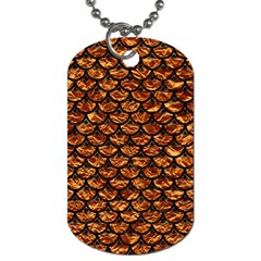 Scales3 Black Marble & Copper Foil (r) Dog Tag (one Side) by trendistuff