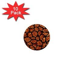Skin1 Black Marble & Copper Foil 1  Mini Magnet (10 Pack)  by trendistuff