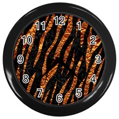 Skin3 Black Marble & Copper Foil Wall Clocks (black) by trendistuff