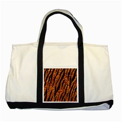 Skin3 Black Marble & Copper Foil (r) Two Tone Tote Bag by trendistuff