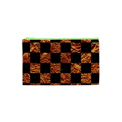 Square1 Black Marble & Copper Foil Cosmetic Bag (xs) by trendistuff