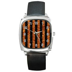 Stripes1 Black Marble & Copper Foil Square Metal Watch by trendistuff