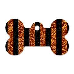 Stripes1 Black Marble & Copper Foil Dog Tag Bone (two Sides)