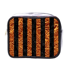 Stripes1 Black Marble & Copper Foil Mini Toiletries Bags by trendistuff