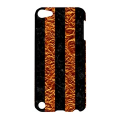 Stripes1 Black Marble & Copper Foil Apple Ipod Touch 5 Hardshell Case by trendistuff