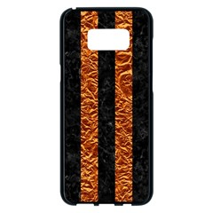 Stripes1 Black Marble & Copper Foil Samsung Galaxy S8 Plus Black Seamless Case by trendistuff