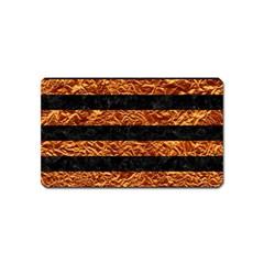 Stripes2 Black Marble & Copper Foil Magnet (name Card) by trendistuff