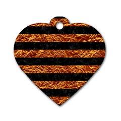 Stripes2 Black Marble & Copper Foil Dog Tag Heart (one Side) by trendistuff
